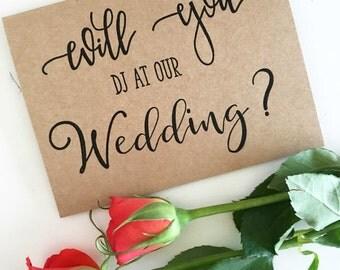 Wedding DJ Card - Will You Be Our DJ - Wedding Party Invites - Wedding Party Invitations - Bridal Party Invites - Rustic Wedding