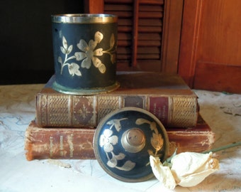 Vintage Brass Trinket Jar and Lid / India / Flower / Floral Etched Pattern / Black Brass Finish