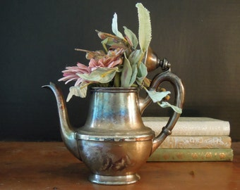 Vintage Individual Silver Soldered Tea or Coffee Pot / Penobscot Club Detroit Michigan / R Wallace Silver