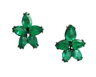 20.0tcw Colombian Emerald Earrings 18k, Beyonce Emerald Earrings, Emerald Pear Earrings, High Fashion Earrings, Natural Emerald ClipEarrings