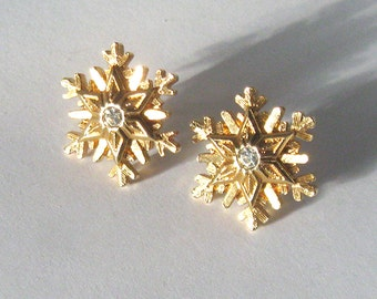 Gold Snowflake Studs, Rhinestone Center, Vintage Post Earrings