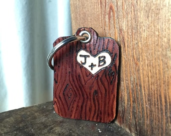 Leather Keychain - Wood Grain - Faux Bois - Initials Carved into Tree - Wedding Gift - 3rd Anniversary