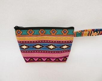 Soutwest print makeup bag /  Aztec / Tribal / Music / Western / Desert / Out West