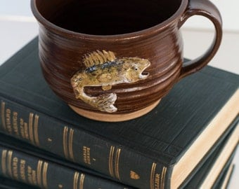 Extra Large Stoneware Mug with Hand Sculpted Minnesota Walleye Fish Sculpture with Artist Stamp and Inscription cabin fishing lake woods mn