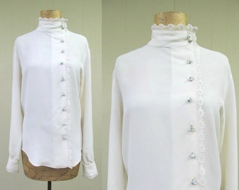 Vintage 1960s Blouse / 60s Ivory Rayon Crepe Lace Joseph Magnin Victorian Style / Medium