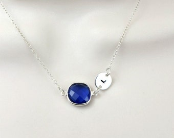 Sapphire Necklace, Initial Necklace, September Birthstone, Personalized Necklace, Stamped Jewelry, Monogram Necklace, Sterling Silver,