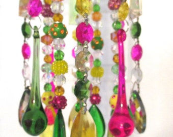Multi-Color Crystal Wind Chime - Chandelier Crystals Windchime - CANDY LAND