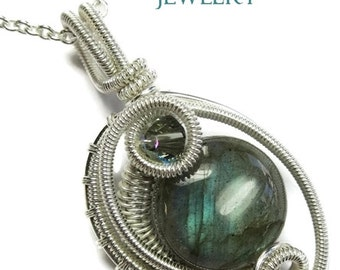 Labradorite & Sterling Silver Woven Circle Pendant with Swarovski Crystal and Chain