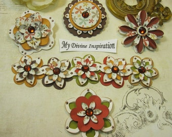 Handmade Fall Paper Embellishments and Paper Flowers for Scrapbooking Cards Mini Albums Tags and Papercrafts