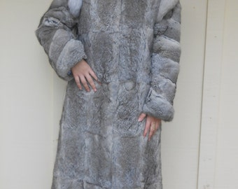 Vintage 1980s NIKI gray rabbit & fox fur maxi-length glamour coat, size Medium