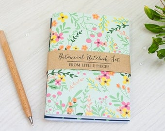 Botanical Notebook Set | A6 Handmade Journal | Floral | Stationery | Gift | For Her