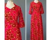 Vintage 1940s Gown / Metallic Gold Red Velvet Dress / Floral Gown / Long Formal Dress w/ Sleeves / Burnout Velvet 40s Evening Dress