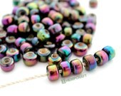 Glass Pony Beads, Purple Iris Iridescent 9mm Glass Crow Rollers, 50pc