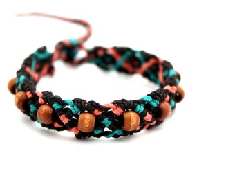 Brown Teal and Peach Macrame Hemp Bracelet