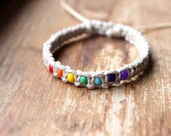 Rainbow Hemp Bracelet, Natural Hemp Jewelry, Rainbow Jewelry