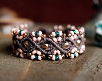 Brown and Pink Macrame Bracelet