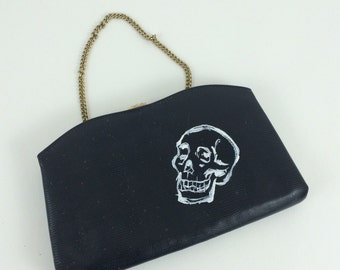 Sketchy Skull: upcycled hand painted clutch purse.
