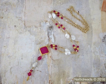 Violet faceted jade connector necklace, pink crystals, gold plate chain, gold plate spacers, baroque freshwater pearls. NGJP-53