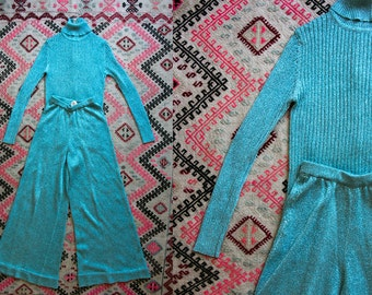 Vintage 70's Disco Glitz Powder Blue Turtle Neck and Matching Bell Bottoms Women's XS/ SM