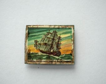 Handmade Wood Decoupage Fridge Magnet Refrigerator Ship Rustic Nautical Tropical Picture Decor Gift for Him