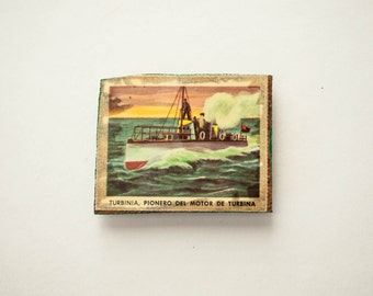 Fridge Magnet Refrigerator Handmade Wood Decoupage Ship Rustic Nautical Tropical Picture Decor Stocking Stuffer Father's Day Gift