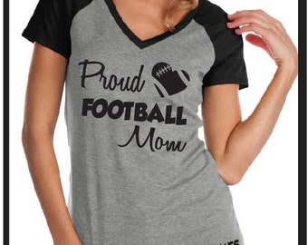 CUSTOM Football Mom Proud Mom with Football Number and name, Custom Football Bling, Personalized Football Mom Shirt, Football Mom Tee,