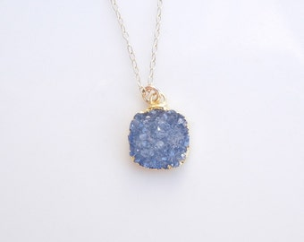 Sky Blue Druzy Necklace in Gold - OOAK Jewelry