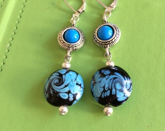 Slver, Turquoise and Ceramic Bead Earrings