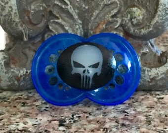Limited Edition Glow In The Dark Baby Punisher Custom Hand Painted on a Blue 6+ MAM Pacifier by PiquantDesigns