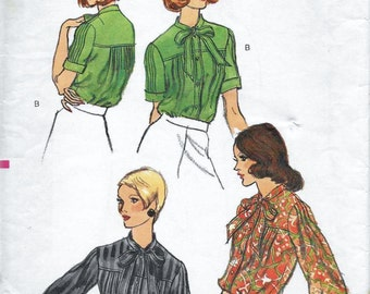 Vogue 8655 Misses 70s Tie Blouse Sewing Pattern Bust 36