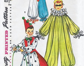 Simplicity 4864 Child's 50s Clown Costume Sewing Pattern Size Small Chest Breast 21 to 23