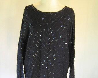 Black Chevron Together! Sequin Shirt Top Glam
