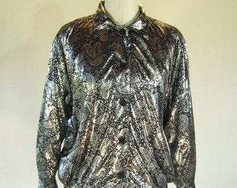 Silver Liquid Metal Paisley Bomber Jacket Top