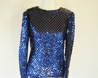 Electric Blue Knit Sequin Shirt Top Glam