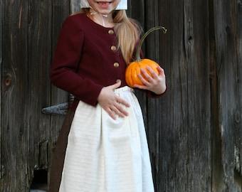 Pilgrim Girl's Costume - Authentic Pilgrim Costume - Choose Your Size - 5-pc. Ensemble - First Thanksgiving - School Play