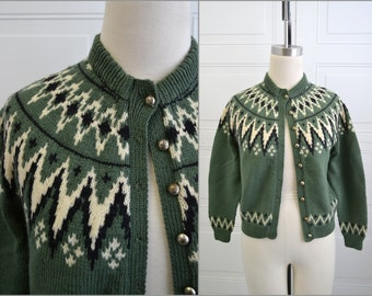 1960s Green Wool Alpine Cardigan Sweater