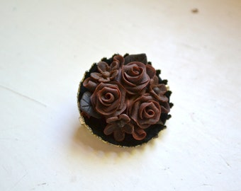 1970s Rose Resin Brooch