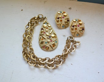 "1960s ""Sarah Zade"" Pendant Necklace and Clip Earrings Set by Sarah Coventry"