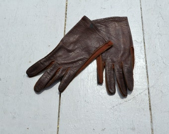 1960s Dark Brown Deerskin Gloves
