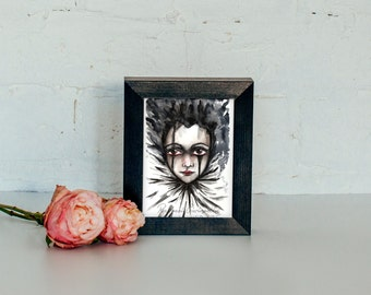 Giclée Art Print - Clown Perriot Art-  Mixed Media Surrealism - Creepy Clown Art - By Rachael Caringella Tree Talker Art