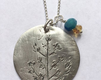 Hand Drawn Fall Branches Necklace (Fine Silver)