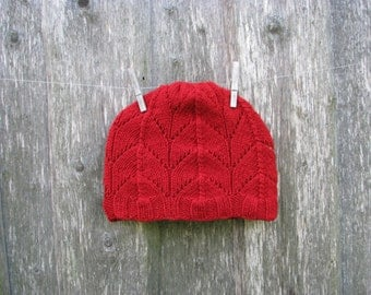 Red Hat Winter Hat Soft Wool Hat Hat for Woman Knitted Hat Hand knitted For Winter