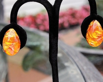 Unusual Lucite and Foil Earrings, ca. 1960s