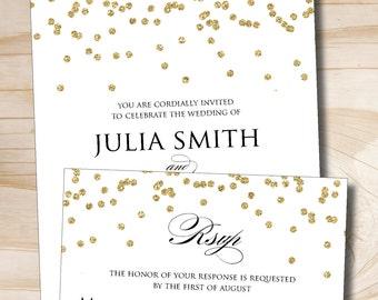 Gold Glitter Confetti Wedding Invitation Response Card Invitation Suite