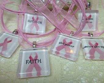 White and Pink Breast Cancer Awareness Pink Ribbon Glass Tile Pendant Necklaces with Words
