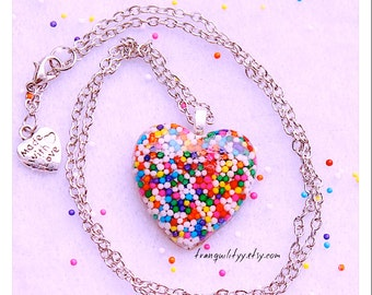 Sprinkle Heart Necklace , Super Sweet Sprinkle Resin puffy Heart Necklace , Kawaii, Hipster, Scene By: Tranquilityy