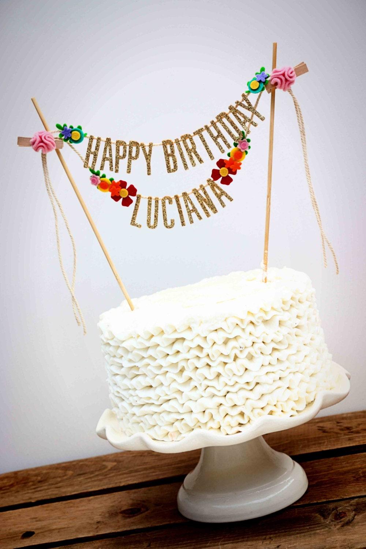 Glitter Gold Birthday Cake Banner Happy Birthday Cake Banner