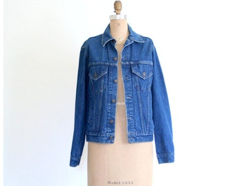 vintage 1970s dark wash denim jacket - ladies or mens jean jacket / Gap Pioneer . 70s early 80s denim jacket / size 36 denim jacket - unisex