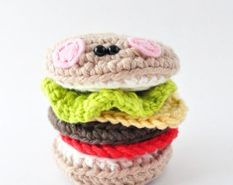 Hamburger Amigurumi Pattern, Crochet Pattern, Cheeseburger Play Food