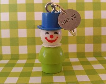 "Little People keychain,Vintage clown ""HAPPY"" ornament,Clown necklace"